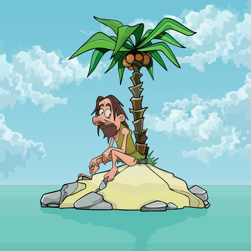 cartoon lonely man on a small island with a palm tree