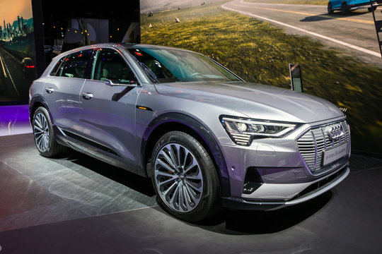 FRANKFURT, GERMANY - SEP 11, 2019: Audi e-tron 55 quattro car showcased at the Frankfurt IAA Motor Show 2019.