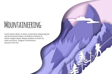 Mountaineering web banner template, vector paper cut illustration