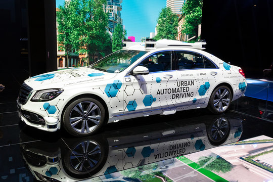 FRANKFURT, GERMANY - SEP 10, 2019: Mercedes Benz Urban Automated Driving test vehicle showcased at the Frankfurt IAA Motor Show 2019.