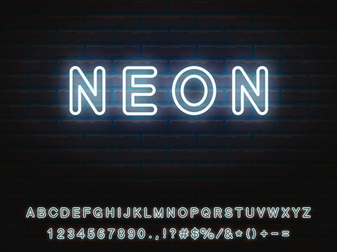 Set of white neon font. Letters, numerals, signs, icons with transparent glow for web design and advertising