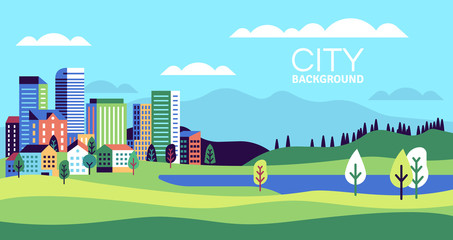Door stickers Pool Simple landscape with buildings. Urban skyline residential houses, green trees and hill, summer cityscape banner, websites vector background