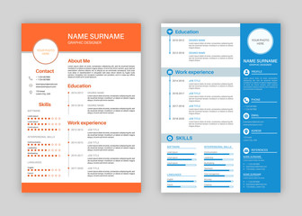Resume template. Professional personal description profile, curriculum letterhead cover, business layout job application creative vector set