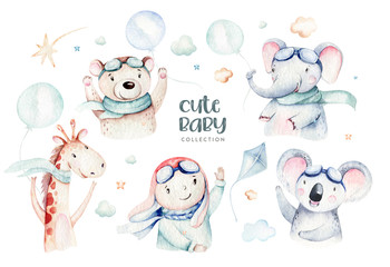 Watercolor set baby cartoon cute character pilot giraffe, elephant with koala, bear and bird aviation sky transport complete with airplanes balloons, clouds. childish Boy baby shower illustration