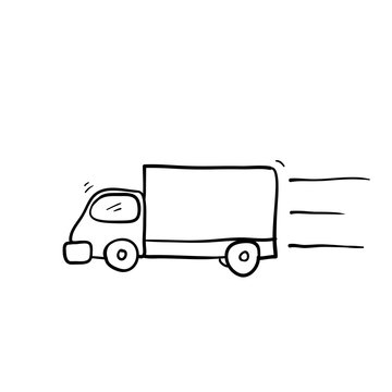 hand drawn Truck illustration with doodle cartoon style vector isolated on white