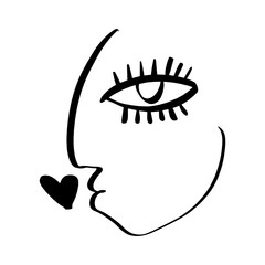 Simple hand drawn black and white trendy line portrait face art. Abstract composition. Monochrome print for clothes, textile, posters and other. Vector