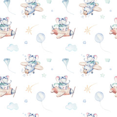 Watercolor airplane kid seamless pattern. Watercolor toy background baby cartoon cute pilot giraffe, elephant with koala, bear and bird aviation sky transport airplanes, clouds.