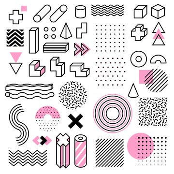 Abstract geometric shapes. Universal trend memphis style graphic symbols. Circle, triangle and cube, line and dots elements vector set