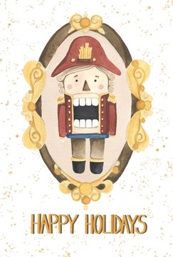 hand drawn isolated watercolor illustration on the white flat background. Nutcracker christmas theme greeting card with happy holidays words