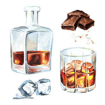 Bottle and glass filled with half alcoholic drink whiskey or brandy or cognac and ice cubes and chocolate bar set. Watercolor hand drawn illustration, isolated on white background