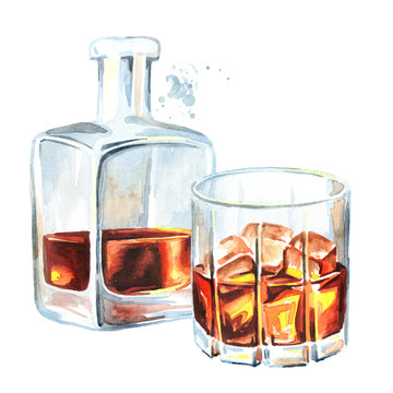 Bottle and glass filled with half alcoholic drink whiskey or brandy or cognac. Watercolor hand drawn illustration, isolated on white background