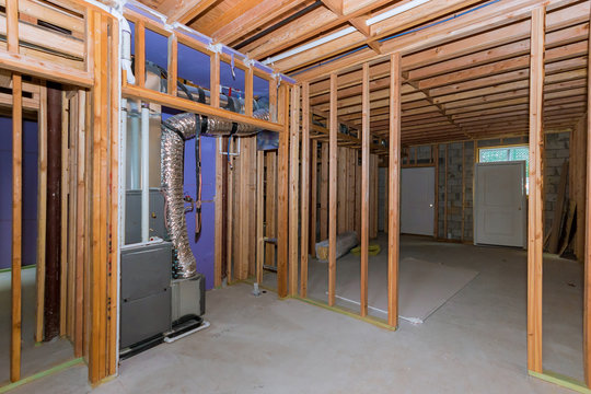 New residential home construction with basement framing