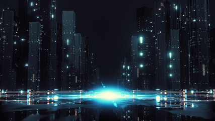 Wall Mural - 3D Rendering of modern skyscraper buildings in large city at night with reflection from wet puddles on street . Concept of big data, machine learning, artificial intelligence, virtual reality