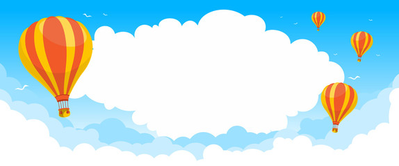 Air balloons in blue sky. Bright summer background for banner, landing page. Illustration, vector