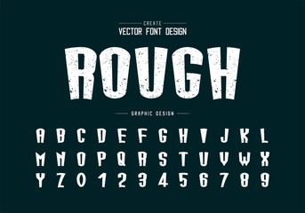 Texture font and cartoon alphabet vector, Rough tall typeface letter and number design Fotomurales