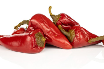 Canvas Prints Hot chili peppers Group of five whole pickled red pepper stack isolated on white background