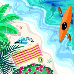 In de dag Draw Tropical Beach Aerial Drone View Snorkeling and Kayak Elements Vector illustration