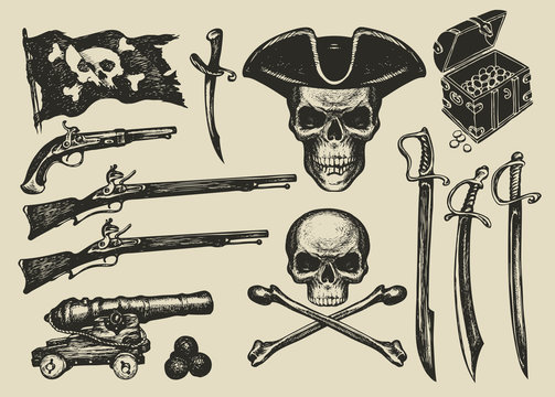 Vector set of hand drawn illustrations on a pirate theme in vintage style. Skulls, crossbones, pirate flag, sabers, swords, ship guns, pistols, treasure chest and other design elements.