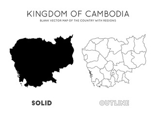 Cambodia map. Blank vector map of the Country with regions. Borders of Cambodia for your infographic. Vector illustration. Fototapete