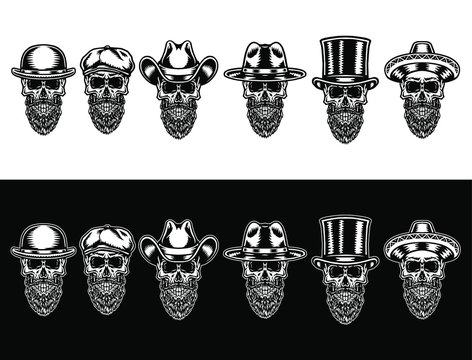 Set of skull beard in hat, isolated on dark and bright background