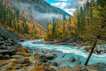 Morning on the Akkem river in autumn Fototapete