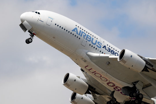 PARIS, FRANCE - JUN 23, 2017: Airbus A380 airliner plane taking off during the Paris Air Show 2017