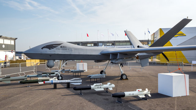 PARIS, FRANCE - JUN 22, 2017: Chinese Chengdu Aircraft Industry Group (CAIG) Wing Loong II  military UAV drone showcased at the Paris Air Show 2017.