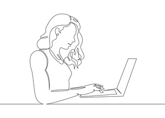 One continuous single drawn line art doodle girl laptop