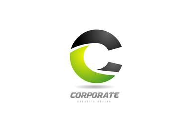 black green logo letter C alphabet design icon for business Wall mural