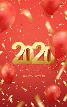 Happy new year 2020 poster. Golden 3D numbers on a red background with golden confetti and balloons. Vector illustration.