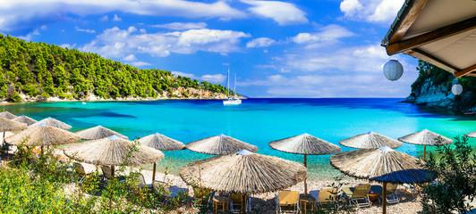 Alonissos island - beautiful organized beach Milia with turquoise waters, Sporades,Greece