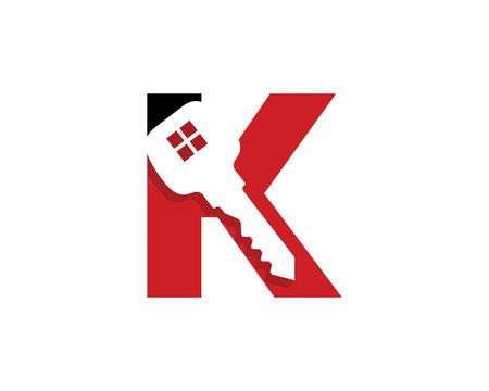 Letter K With Key Logo Vector 001