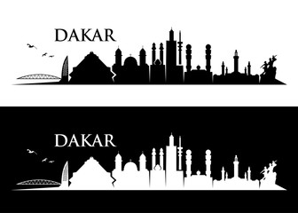 Fototapete - Dakar skyline - Senegal - vector illustration