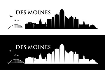 Fototapete - Des Moines skyline - Iowa, United States of America, USA - vector illustration