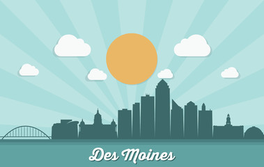 Fotomurales - Des Moines skyline - Iowa, United States of America, USA - vector illustration