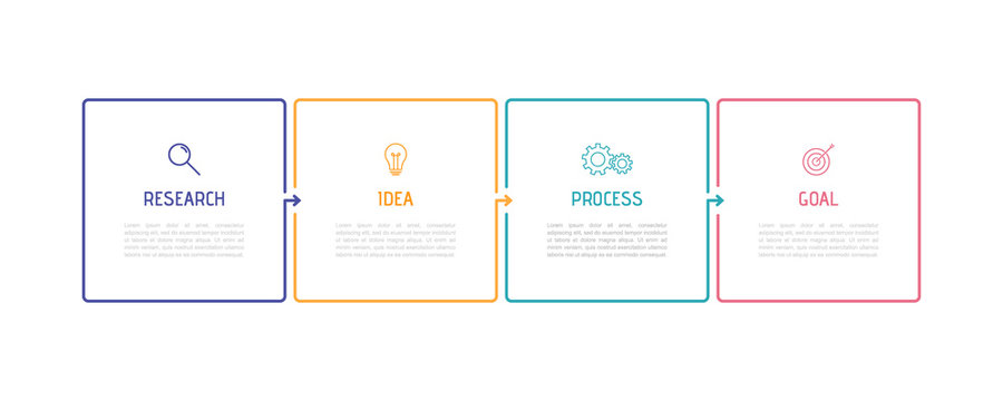 Business process infographic template. Thin line design with numbers 4 options or steps. Vector illustration graphic design