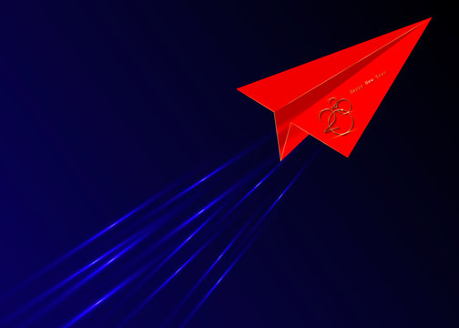 red origami flying envelope in the space, Golden 2020 New Year logo, red paper cuting airplane, Christmas theme, vector illustration. Holiday design for greeting card, invitation, calendar, party