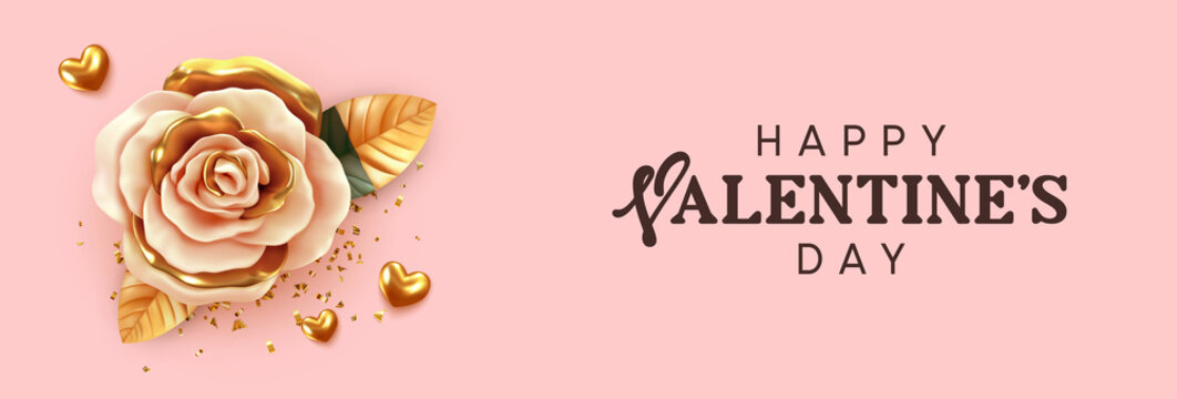 Happy Valentine's Day. Background with realistic 3d flower rose, beige and gold color, golden volume hearts, glitter confetti. Greeting card, holiday poster, banner. Romantic brochure flyer