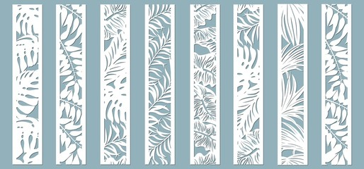 Laser cut ornamental panels with tropical pattern. Palm, fern. Set of bookmarks templates. Sticker set. Pattern for the laser cut, plotter and screen printing. Fototapete