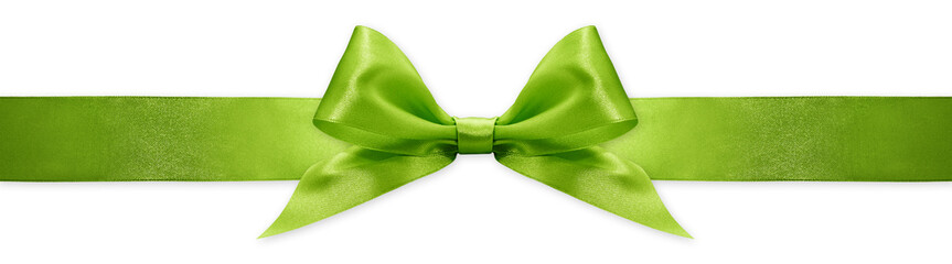 Fotomurales - green ribbon bow isolated on white background, for event or gift package