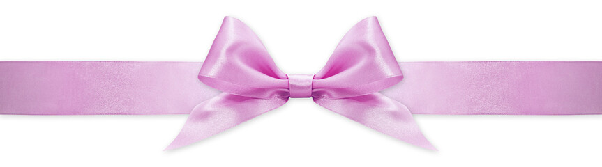 Fotomurales - pink ribbon bow isolated on white background, for event or gift package