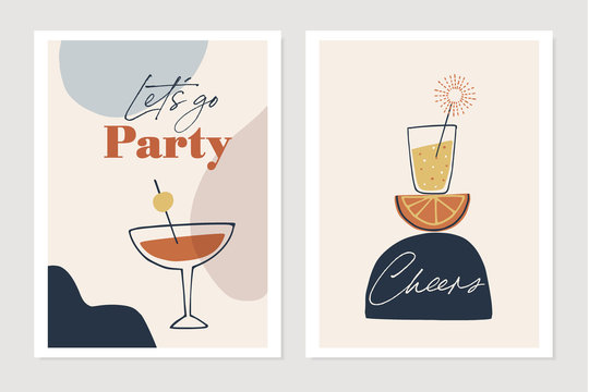 Set of New Years greeting cards, party invitations. Cocktails, drink glasses with orange fruit and sparkler. Cheers and lets go party text. Abstract geometric shapes background. Vector illustrations.
