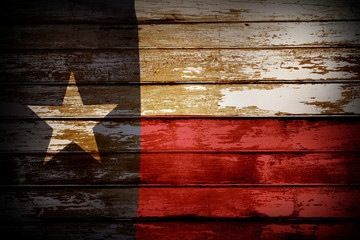 Photo sur cadre textile Texas Texas flag on boards