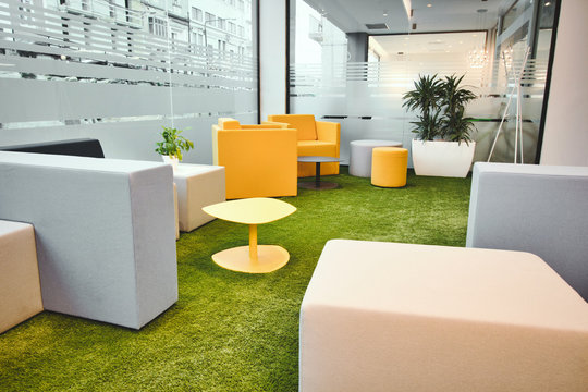 Office space interior with simple modern furniture