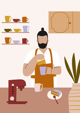 Front view of coffee shop. Man working as a barista making coffee. Flat vector illustration.