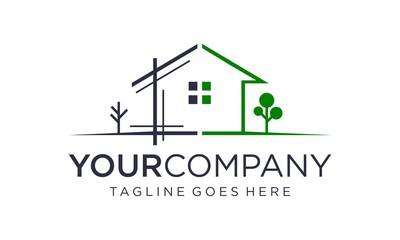 Obraz Simple and creative home renovation logo design concept - fototapety do salonu