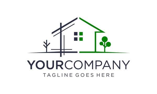 Simple and creative home renovation logo design concept