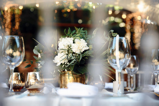 Close up photo of festive decor on the table. Bokeh