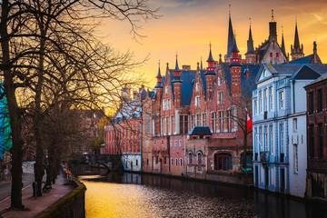 Acrylic Prints Bridges Historic city center of Brugge, Flanders, Belgium
