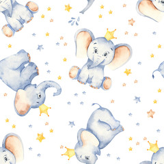 Watercolor multidirectional seamless pattern with cute baby elephants crown and stars